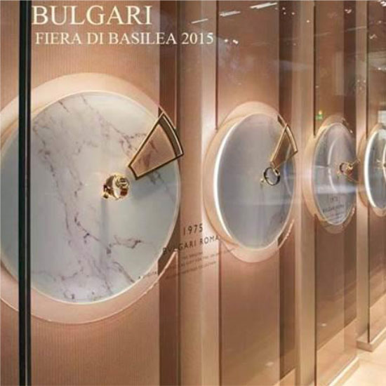 Bulgari Showroom - Teche espositive per showroom